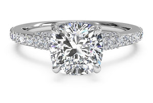 Custom Ring for Paul - Platinum Engagement Ring 5.45 tcw - 5 ct Lannyte Cushion center
