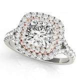 1.5tcw Cushion Cut Engagement Ring Double Halo 6mm Simulated Center Diamond