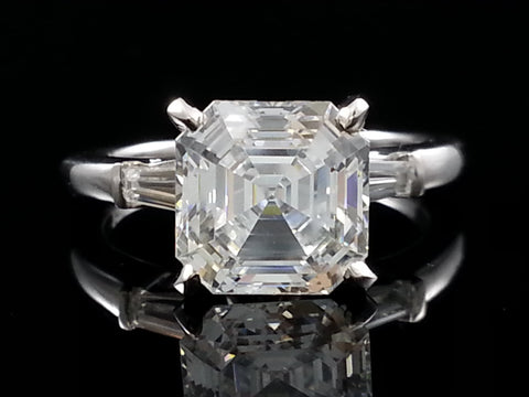 Lannyte Asscher Engagement Ring 3 carat 8mm Plat or 14k wg