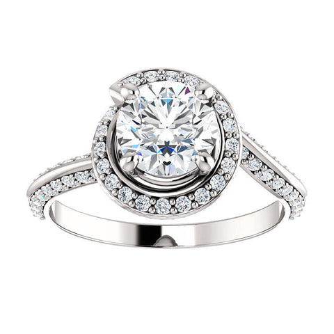 New Moissanite Sculptural Twisting Halo 1,2,3 ct 14k Engagement Ring Round Brilliant Forever Brilliant VVS Moissanite with Natural Diamonds