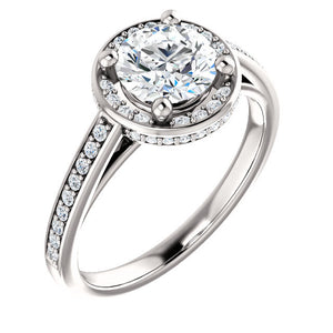 New Moissanite 6.5mm round 1.25 carat 14k Halo Engagement Ring Forever Brilliant Forever Brilliant VVS Clarity with Natural Diamonds