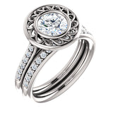 New Moissanite Sculptural Halo 1,2,3 ct Engagement Ring Round Brilliant Forever Brilliant VVS Moissanite with Natural Diamonds