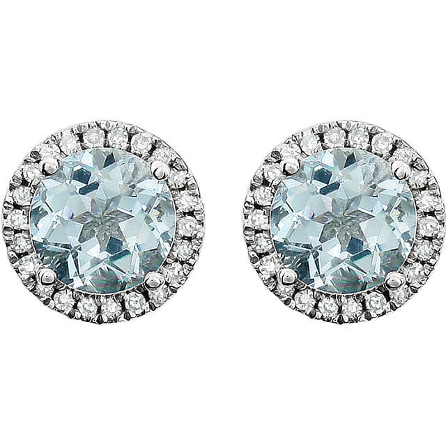 Aquamarine Halo Diamond Earrings 14k white gold Round Sapphire Gemstone Natural Round Brilliant Diamonds 2.13 tcw Beautiful Birthstone