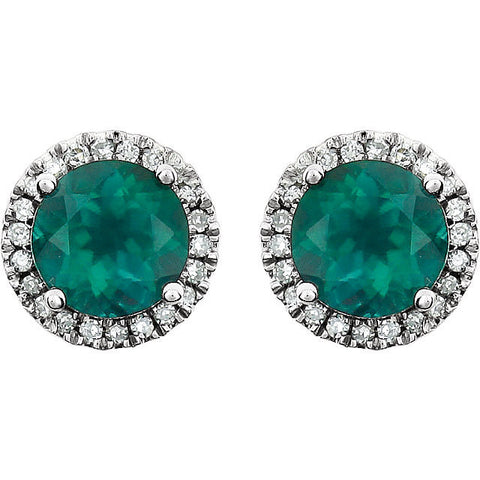 Green Emerald Halo Diamond Earrings 14k white gold Round Emerald Gemstone Natural Round Brilliant Diamonds 2.13 tcw Beautiful Birthstone