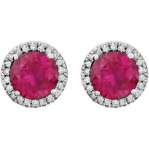 Red Ruby Halo Diamond Earrings 14k white gold 2.13 tcw