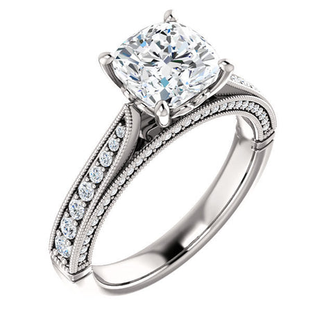 2ct Moissanite Sculptural Style 14k & Diamond Ring
