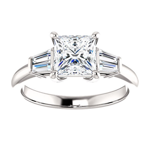 Lannyte Simulated Diamond Princess Engagement Ring 14k White Gold