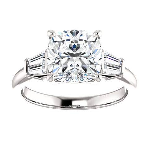 Lannyte Diamond Cushion Engagement Ring 14k White Gold 1, 1.5, 2,3 ct. w/ Diamond Baguettes