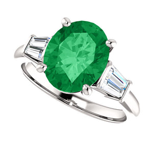 Green Emerald Oval Engagement Ring 14k White Gold 1, 2, 3 ct. w/ Diamonds