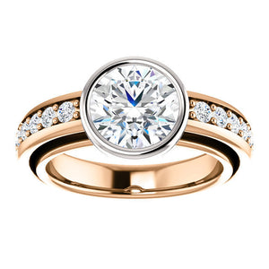 Forever Brilliant Moissanite Bezel set 2ct 8mm Engagement Ring