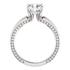 Cushion Moissanite 14k White Gold Engagement Ring Forever Brilliant 6,7,8mm w/ Diamonds