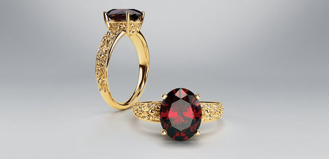 Natural Oval Garnet Ring 14k Yellow Gold 10x8mm Gemstone