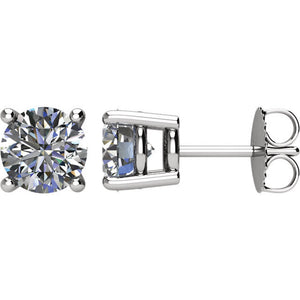 Round Diamond Earrings Set in 14k White Gold Natural SI-2 G-H Color