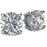 Round Diamond Earrings Set in 14k White Gold Natural SI-2 G Color Diamonds