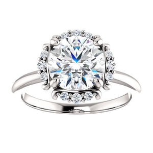 Round FB Moissanite Vintage Halo Engagement Ring