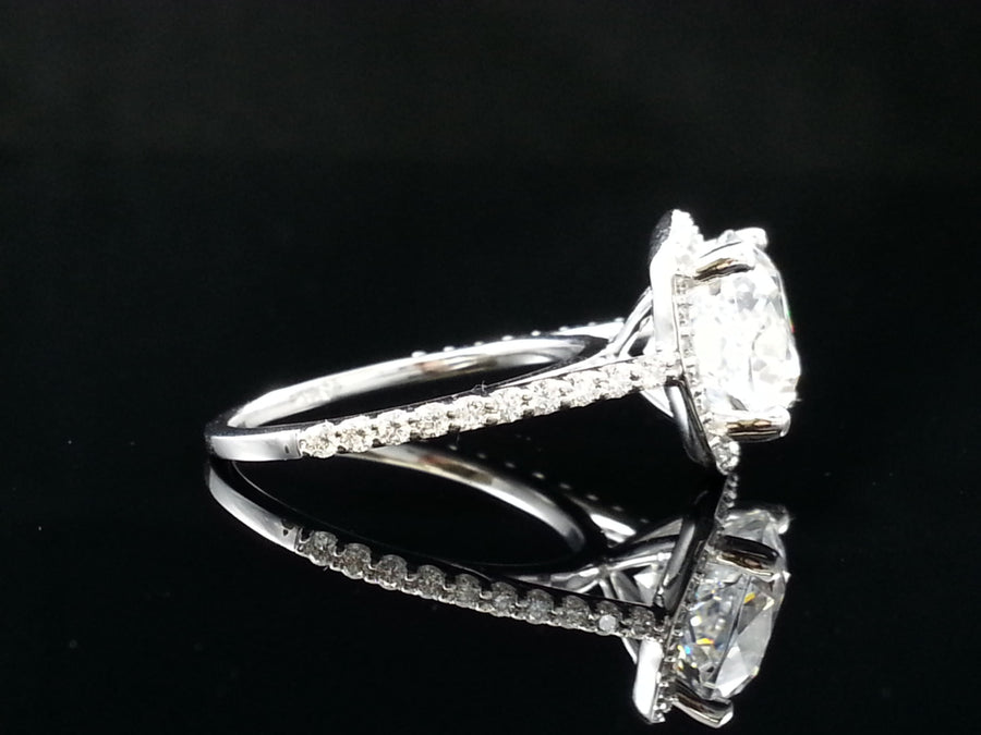 GIA Certified 1.25 ct Cushion Halo Diamond Engagement Ring