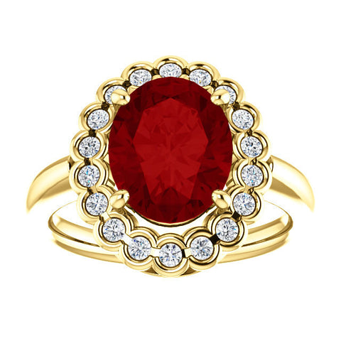 Oval Ruby Ring Halo 18k Yellow Gold 10x8mm Created Ruby Gemstone Beautiful Natural G SI-1 Decorative Round Brilliant Diamonds Thick Band
