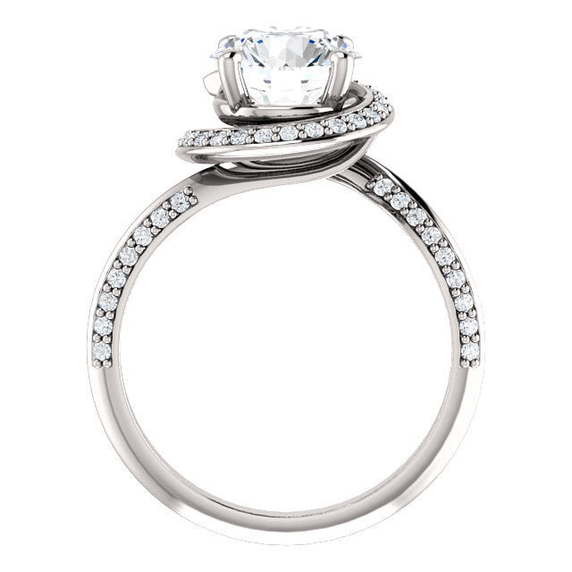 Round Moissanite Halo Spiral Set Engagement Ring 1,2 carat 6.5 or 8mm Round Brilliant Forever Brilliant VVS Moissanite with Natural Diamonds