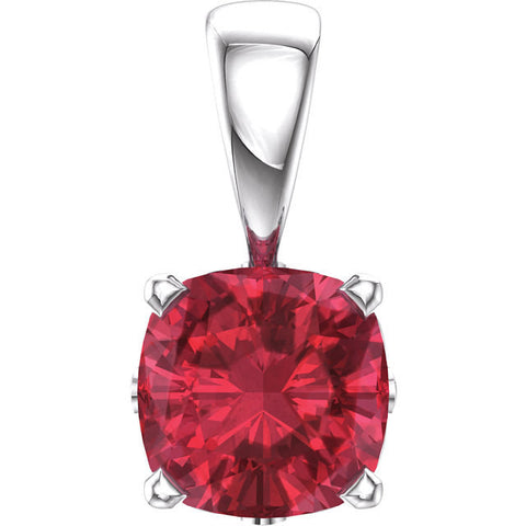 Red Ruby Pendant Necklace 14k white gold 6mm Cushion Ruby Created By Chatham with 14k wg Chain Beautiful Flower Motif Antique Cushion Cut