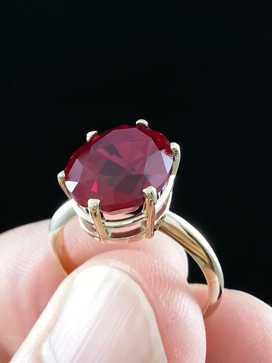 Oval Red Lab Ruby Ring 14k Yellow Gold 12x10mm Created Ruby Gemstone Beautiful 14k Ruby Ring with Basket Setting 7 carat Oval Ruby Ring