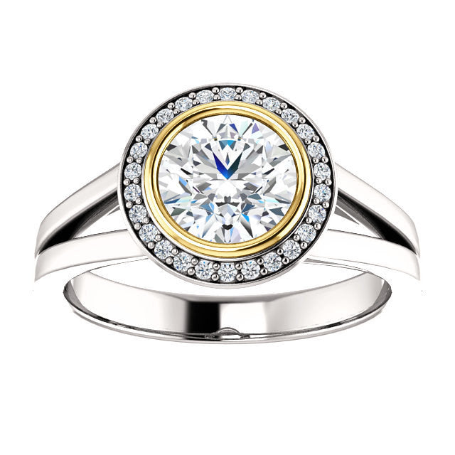 New Moissanite 6.5mm round 1.07 carat 14k Halo Engagement Ring Forever Brilliant Forever Brilliant VVS Clarity with Natural Diamonds