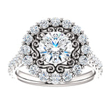 New Vintage Floral Halo Ring Semi-Mount 1.90 ct Engagement Ring Round Brilliant Forever Brilliant VVS Moissanite with Natural Diamonds
