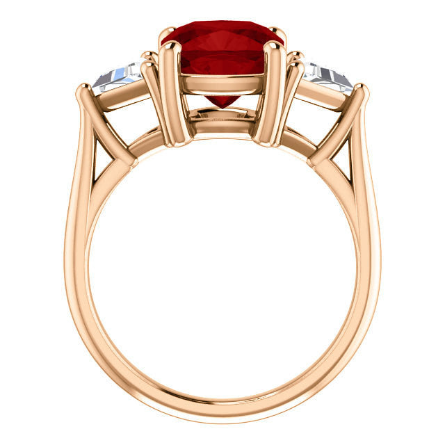 Red Cushion Ruby Engagement Ring 14k Rose Gold 8mm Center Gemstone Lab Created Beautiful Ruby Cushion Cut Moissanite Trillion Cut Stones