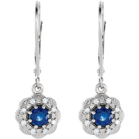 Natural Blue Round 4mm Sapphire Diamond Halo Earrings 14k white gold .25 tcw Round Full Cut Brilliant Diamonds
