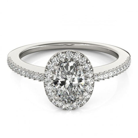 Oval Diamond Halo Engagement Ring 1.2 tcw