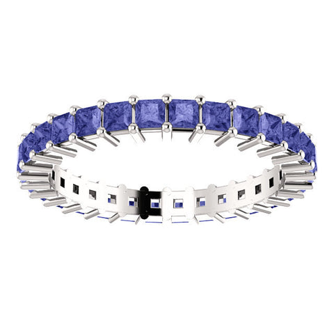 2+ ct Tanzanite Eternity Band Princess Cut AA Natural Tanzanite Wedding Band 14k White Gold Band Gorgeous Natural Blue Violet Gemstones