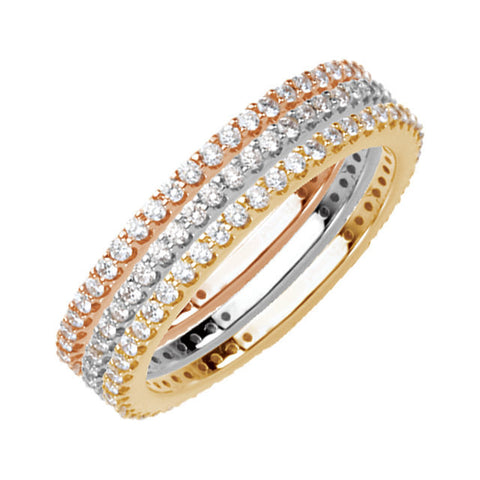 Stackable Diamond Bands 14kt gold Rose, Yellow, and White Gold Bands .33 ct Round Full Cut Diamonds H+ Color 1.5mm Wide Bands