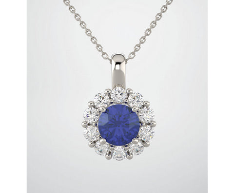 3.25tcw Lab Blue Round Sapphire Diamond Halo Pendant 14k wg Custom Designed Pendant Necklace Halo Diamonds G-H SI2-3