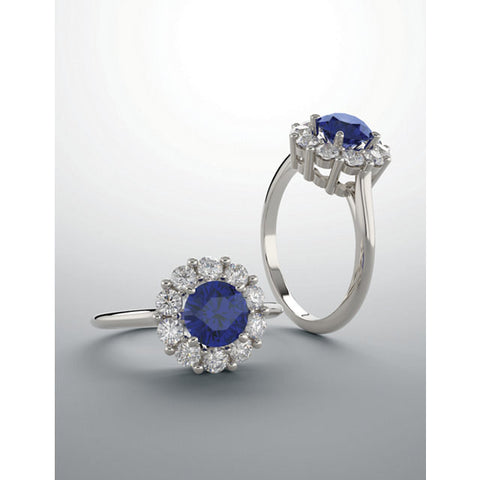 3.25tcw Lab Blue Round Sapphire Diamond Halo Engagement Ring 14k wg Custom Designed Ring Large Halo Diamonds G-H SI2-3