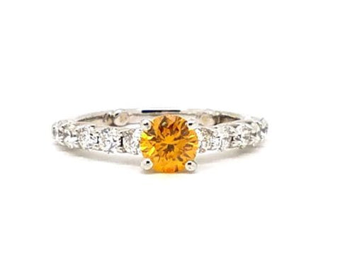 1.21ct GIA Certified Estate Fancy Orange Diamond Ring Rare Natural Diamond
