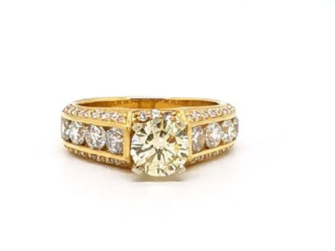 Estate 1.8ct 14k Gold Engagement Ring w/ Light Yellow Center Stone