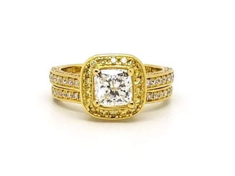 2ct GIA Certified Cushion Cut Diamond Ring in 18k Yellow Gold w/ Matching Band