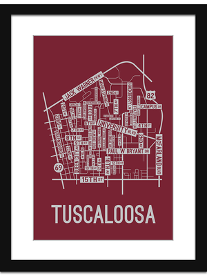 Tuscaloosa, Alabama Street Map Print