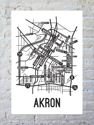 Akron, Ohio Street Map Large Poster