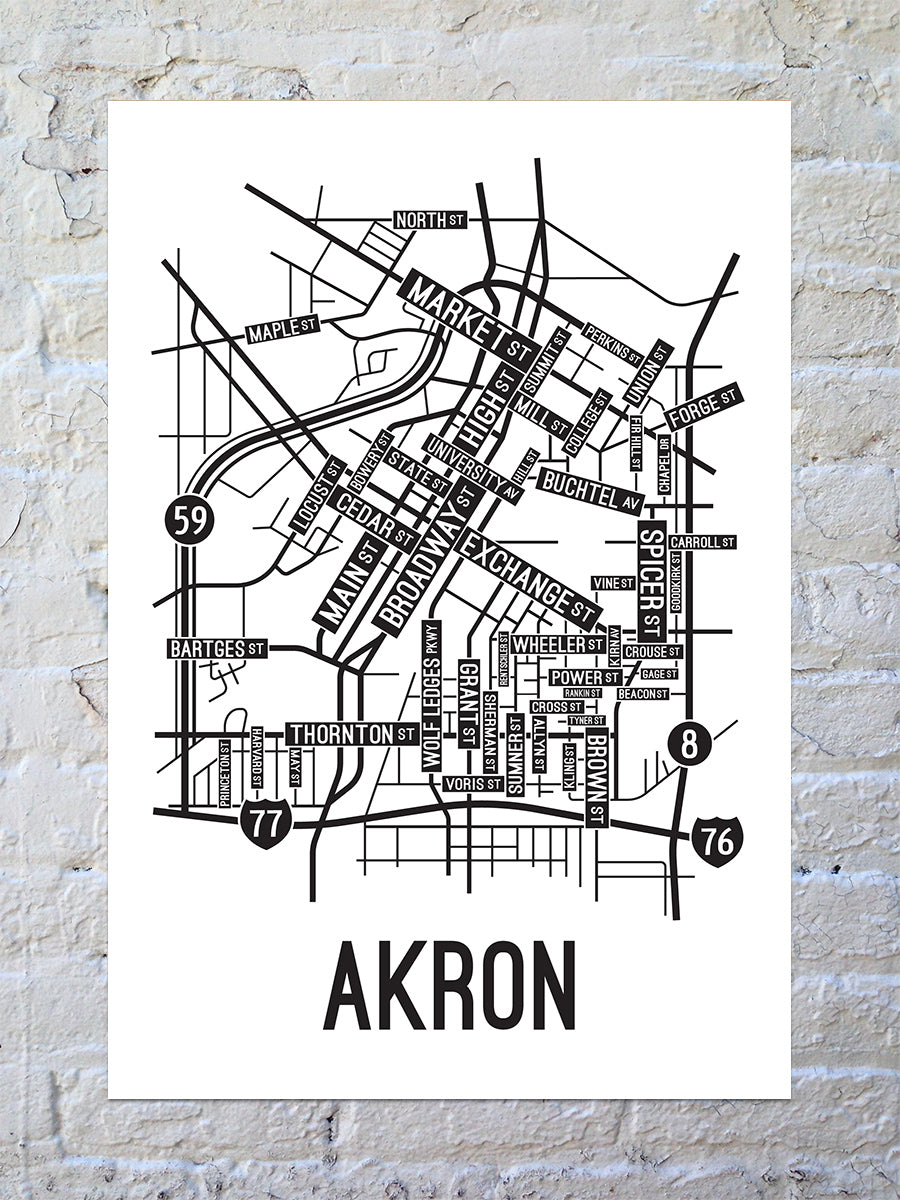 Akron, Ohio Street Map Print