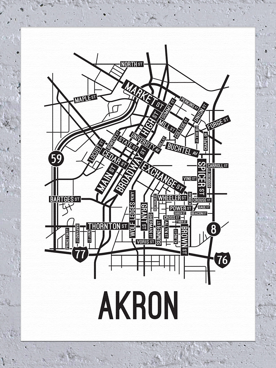 Akron, Ohio Street Map Canvas