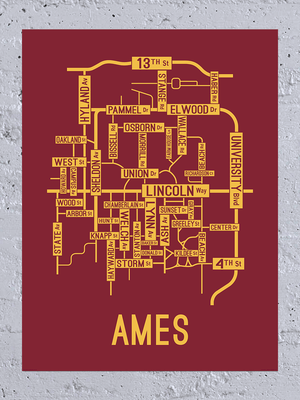 Ames, Iowa Street Map Canvas