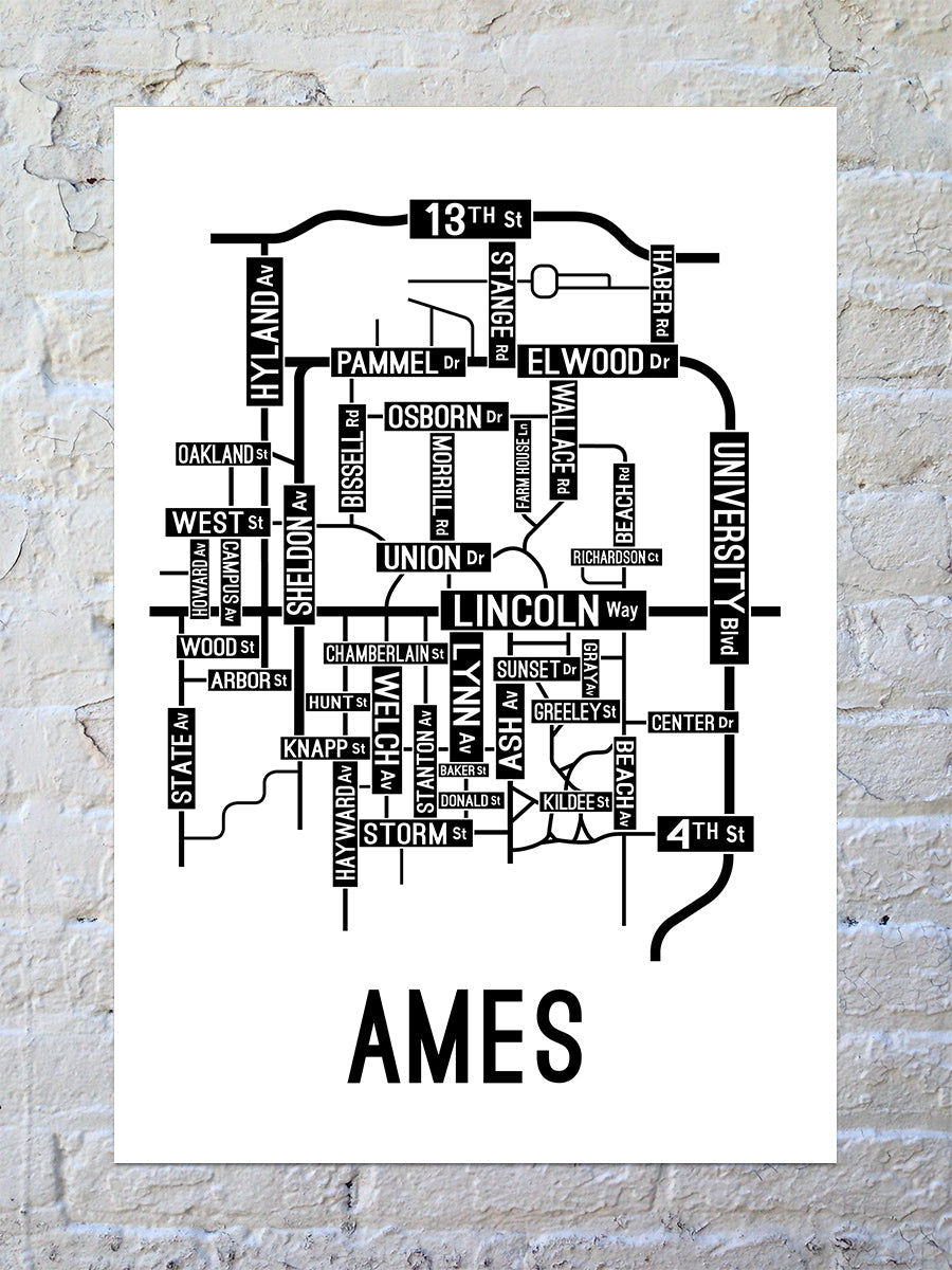 Ames, Iowa Street Map Large Poster