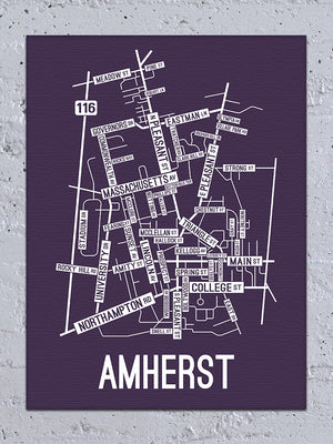Amherst, Massachusetts Street Map Canvas