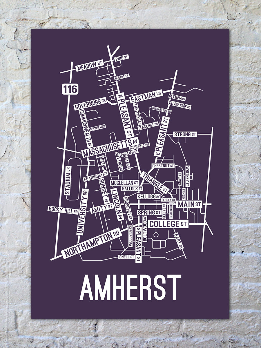 Amherst, Massachusetts Street Map Print
