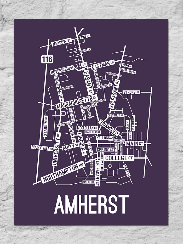 Amherst, Massachusetts Street Map Large Poster