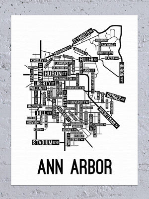 Ann Arbor, Michigan Street Map Canvas