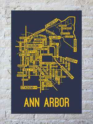 Ann Arbor, Michigan Street Map Print