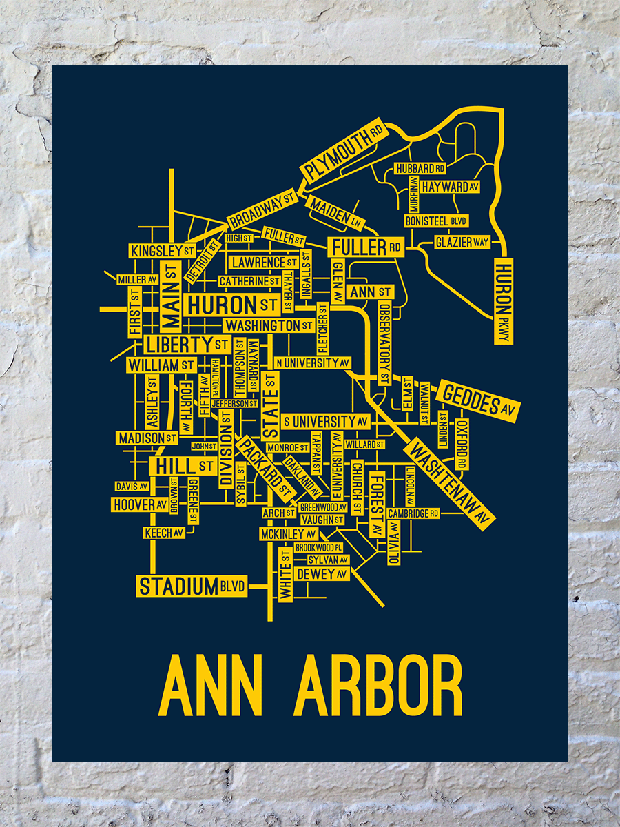 Ann Arbor, Michigan Street Map Large Poster