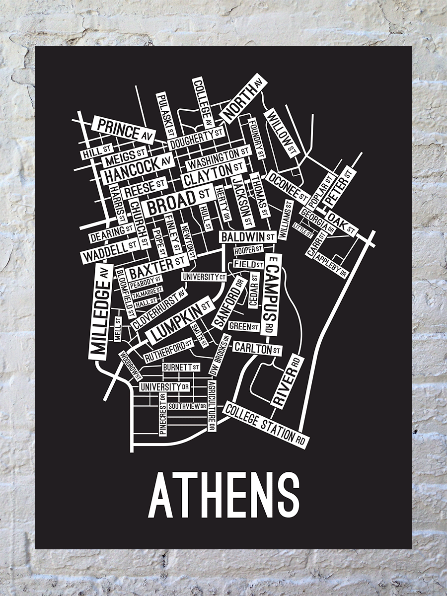 Athens, Georgia Street Map Large Poster