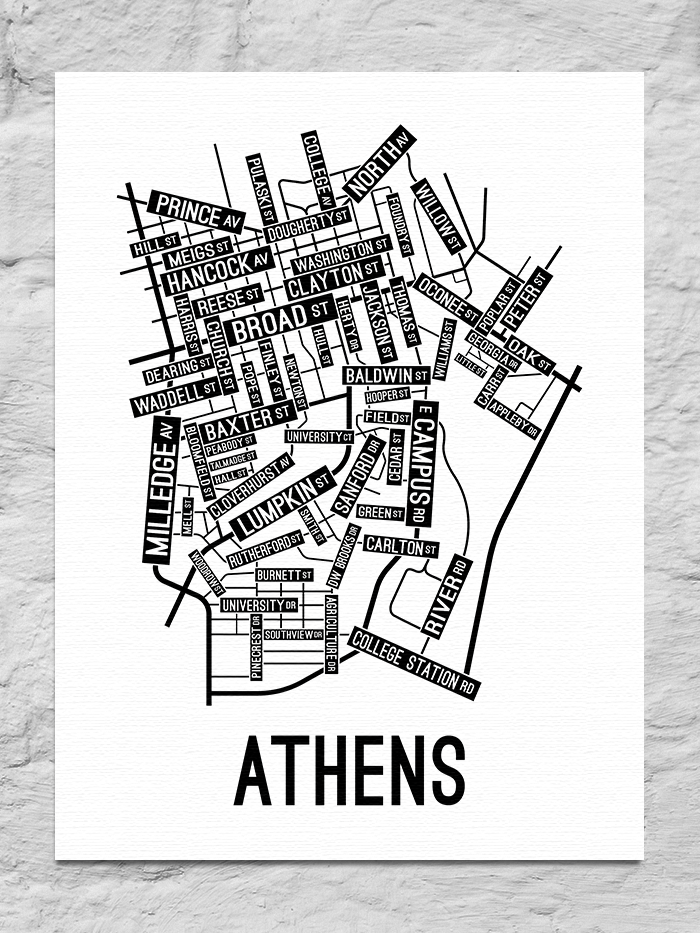 Athens, Georgia Street Map Canvas